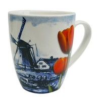 Heinen Delftware Holland Mok - Delfts blauw - Molen - Oranje tulp