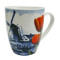 Typisch Hollands Holland Mok - Delfter Blau - Windmühle - Orange Tulpe