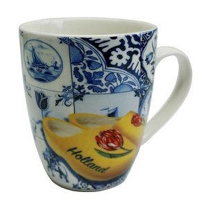 Heinen Delftware Holland Mok - Delfts blauw - Klompen - Oranje tulp