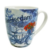 Typisch Hollands Amsterdam Mug - Delft Blue - Bicycle Tulip