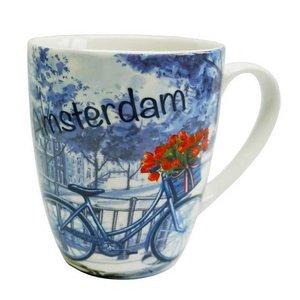 Typisch Hollands Amsterdam Mok - Delfts blauw - Fiets- tulp