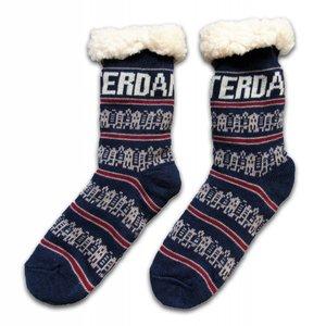 Typisch Hollands Fleece comfort socks - Façade houses - dark blue