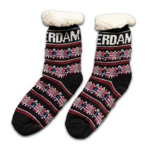 Typisch Hollands Fleece Comfort Socks - Façade houses - Black