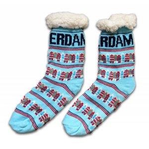 Typisch Hollands Fleece Comfort Socks - Fassadenhäuser - Blau