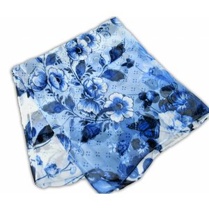 Typisch Hollands Delft blue ladies scarf - chiffon - Flowers and butterflies