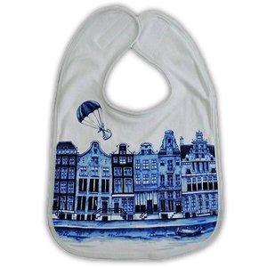 Typisch Hollands Bib Delft blaue Giebelhäuser.