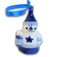 Typisch Hollands Kerstboomhanger Sneeuwmannetje - Delfts blauw
