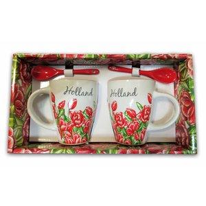 Typisch Hollands Geschenkbox Becher mit Löffel - Tulpen