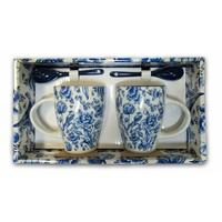Typisch Hollands Gift box Mugs with spoon - Tulips - Blue