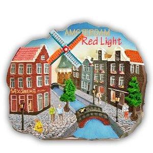 Typisch Hollands Magnet polystone Amsterdam - Red Light - Scene