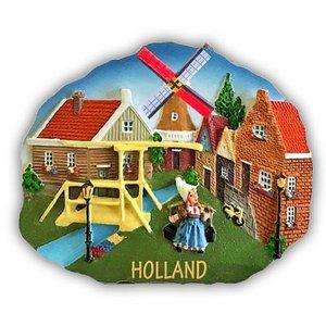 Typisch Hollands Magneet polystone Hollands Dorpstafereel
