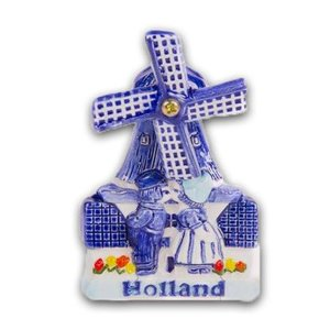 Typisch Hollands Magneet Molen Delfts Blauw