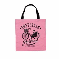 Typisch Hollands Cotton bag Amsterdam - Pink