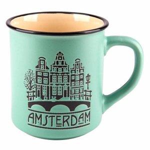 Typisch Hollands Retro Campus mug Amsterdam Groot - Groen