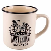 Typisch Hollands Retro Campus Mug Amsterdam Large - Bike - Cream