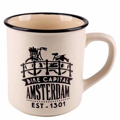 Typisch Hollands Retro Campusmok Amsterdam Groot - Fiets - Creme