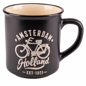 Typisch Hollands Retro Campus Mug Holland Large - Fahrrad - Schwarz