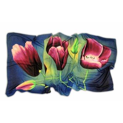 Typisch Hollands Luxe Damesjaal - Tulpen  - Viscose - Blauw - Aubergine