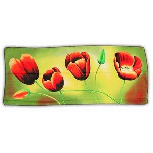 Typisch Hollands Luxe Damesjaal - Tulpen  - Viscose  Geel/Groen - Oranje