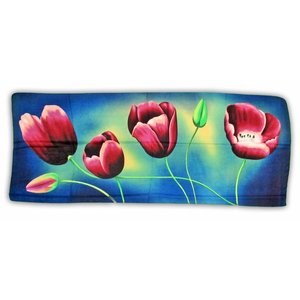 Typisch Hollands Luxury Ladies' Scarf - Tulips - Viscose - Blue - Eggplant