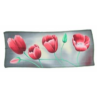 Typisch Hollands Luxury Ladies' scarf - Tulips - Viscose - Gray-Dark / pink