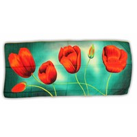 Typisch Hollands Luxury ladies scarf - Tulips - Viscose -Indigo / Orange