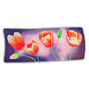 Typisch Hollands Luxury Ladies' scarf - Tulips - Viscose - Violet / Orange