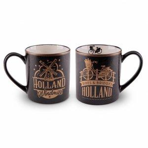 Typisch Hollands Geschenkset - 2 Tassen Holland - Gold