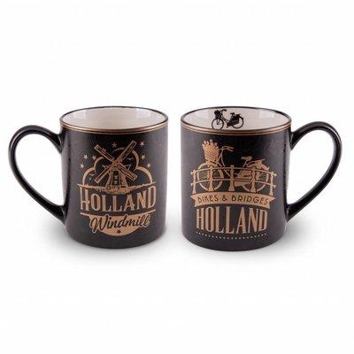 Typisch Hollands Gift set - 2 mugs Holland - Gold