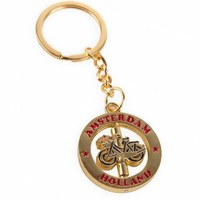 Typisch Hollands Keychain turning bicycle gold Amsterdam