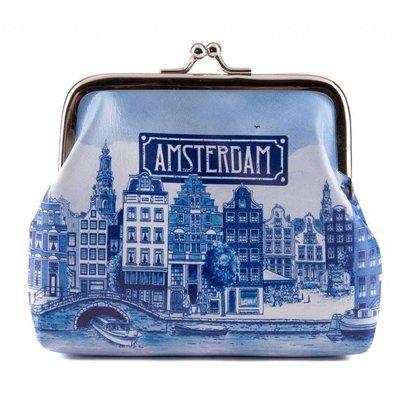 Typisch Hollands  Knip-portemonnee  Delftsblauw - Amsterdam