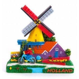 Typisch Hollands Amsterdam - Holland shop - Magnet 2D Windmühle mit Fahrrad Holland