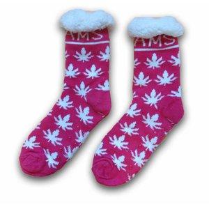 Typisch Hollands Fleece Comfortsokken - Cannabis - Amsterdam - Fuchsia - Wit