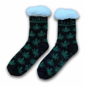Typisch Hollands Fleece Comforsokken - Cannabis - Amsterdam - Zwart groen