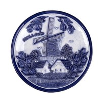 Typisch Hollands Bord 15 cm delftsblauw Holland molen en tulpen