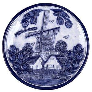 Typisch Hollands Bord 20 cm delftsblauw Holland molen en tulpen