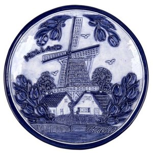 Typisch Hollands Plate 20 cm delft blue Holland mill and tulips