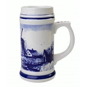Heinen Delftware Bierpul Holland 17cm - Defts blauw