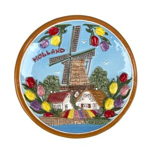 Typisch Hollands Plate 15 cm Holland mill and tulips - Color