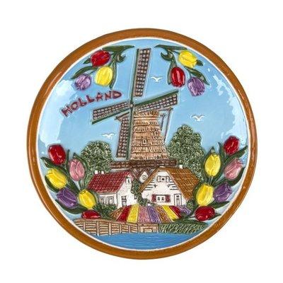Typisch Hollands Platte 15 cm Holland Mühle und Tulpen - Farbe