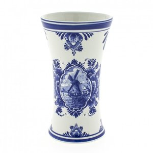 Typisch Hollands Delft blue chalice vase with mill small