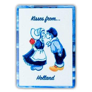 Heinen Delftware Magneet - tegel - rechthoek kissing couple - Color