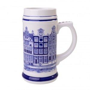 Heinen Delftware Bierpul grachtenhuizen Amsterdam-17 cm