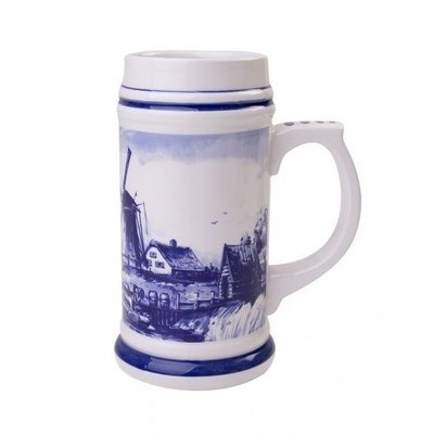 Typisch Hollands Delfter blauer Bierkrug - Mühlenlandschaft 14 cm