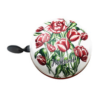 Typisch Hollands Metal bicycle bell - Ding Dong - Tulips - Red-White