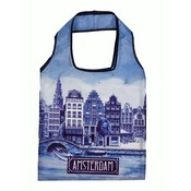 Typisch Hollands Opvouwbaar tasje Amsterdam Delfts blauw