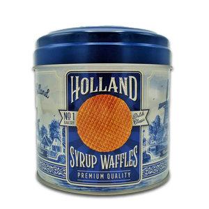 Typisch Hollands Stroopwafels in nogstalgisch - Delfts blauw blik - Holland