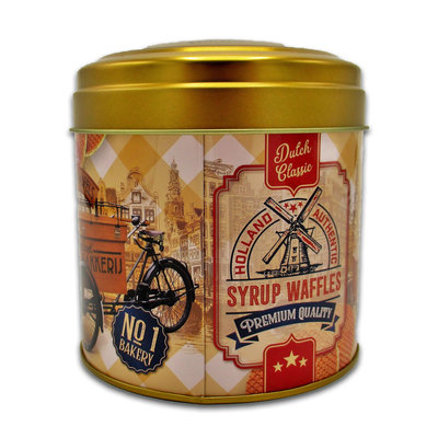 Typisch Hollands Stroopwafels in a nostalgic bakery tin