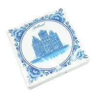 Typisch Hollands Servetten Delfts blauwe gevelhuisjes