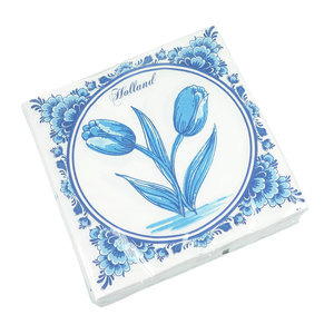 Typisch Hollands Servetten Delfts blauw met tulpen - Holland